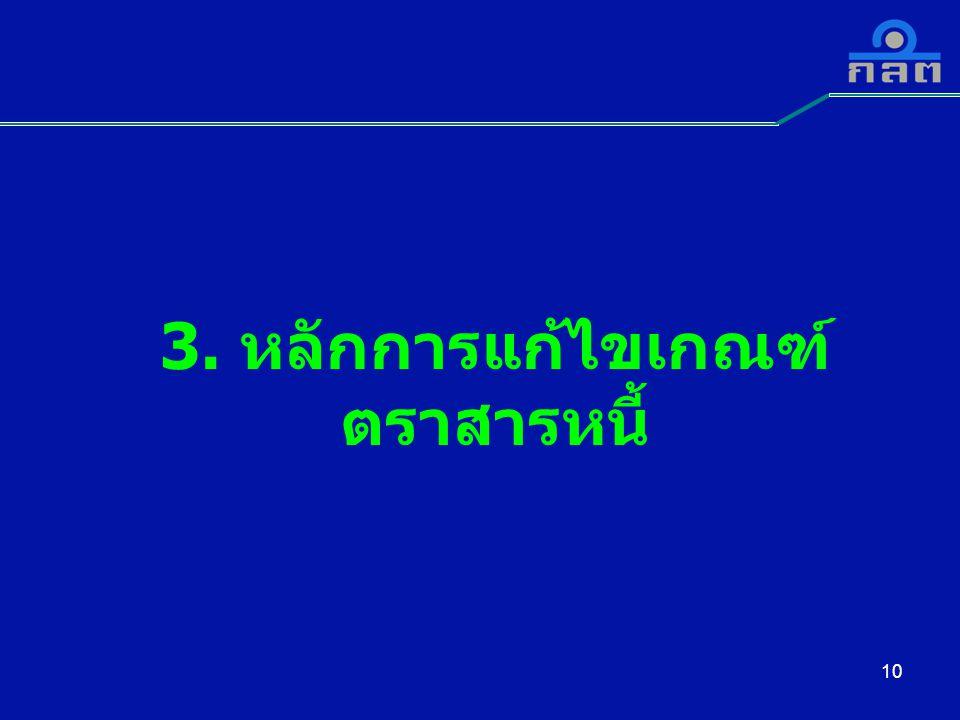 3. หลักการแก้ไขเกณฑ์ ตราสารหนี้