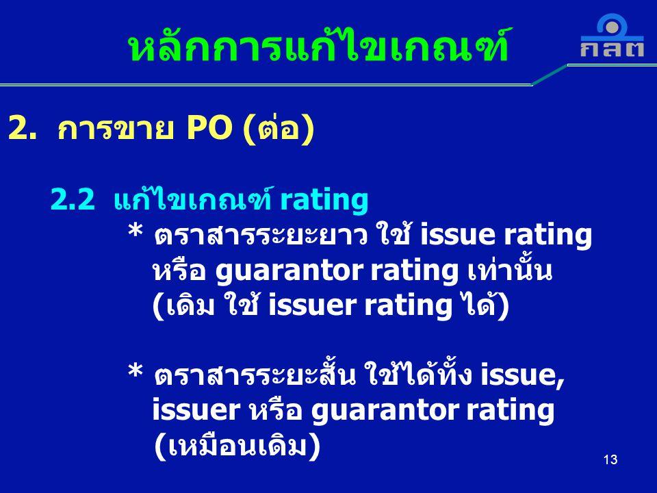 หลักการแก้ไขเกณฑ์ 2. การขาย PO (ต่อ) 2.2 แก้ไขเกณฑ์ rating
