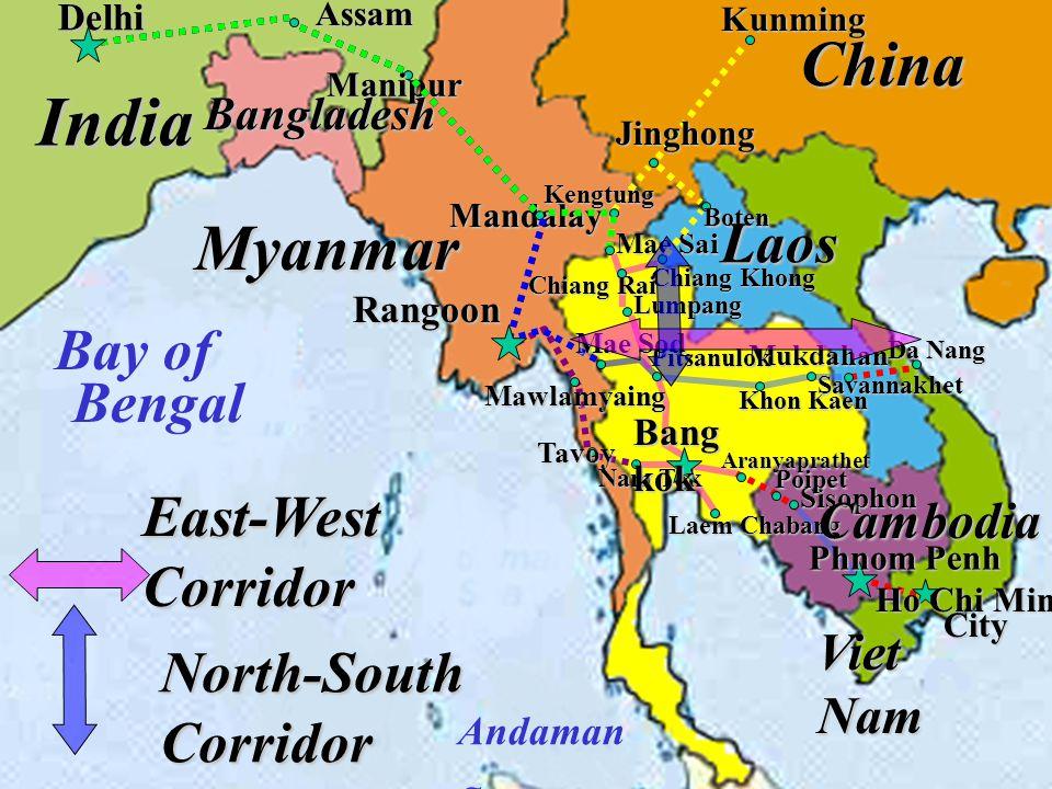 ภาพแสดงเส้นทางคมนาคมทางถนน 3 ทางเลือกที่สามารถเชื่อมกับพรมแดนพม่า