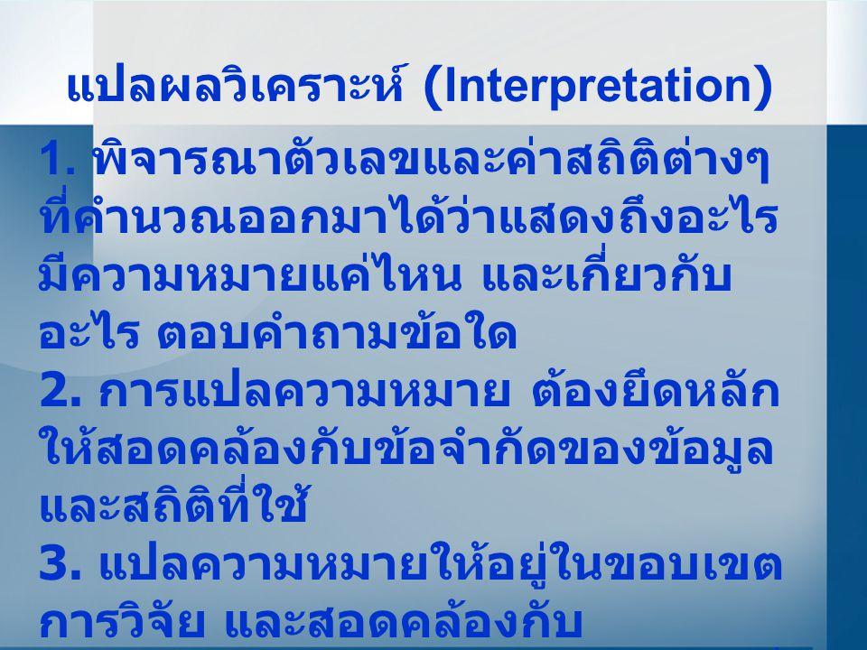แปลผลวิเคราะห์ (Interpretation)