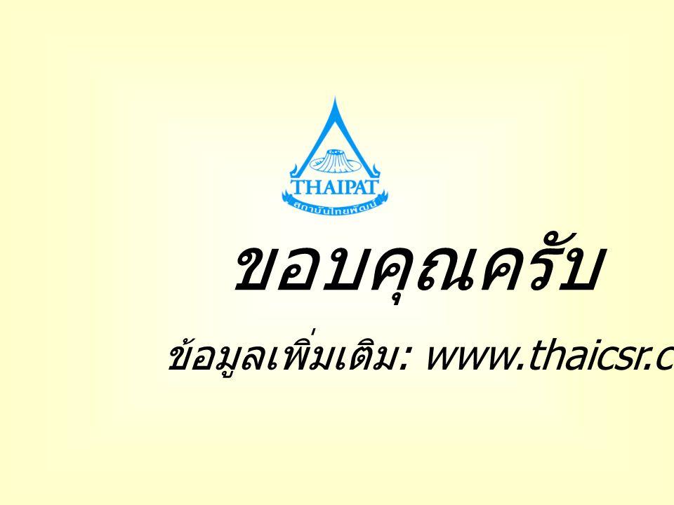 ขอบคุณครับ ข้อมูลเพิ่มเติม: www.thaicsr.com
