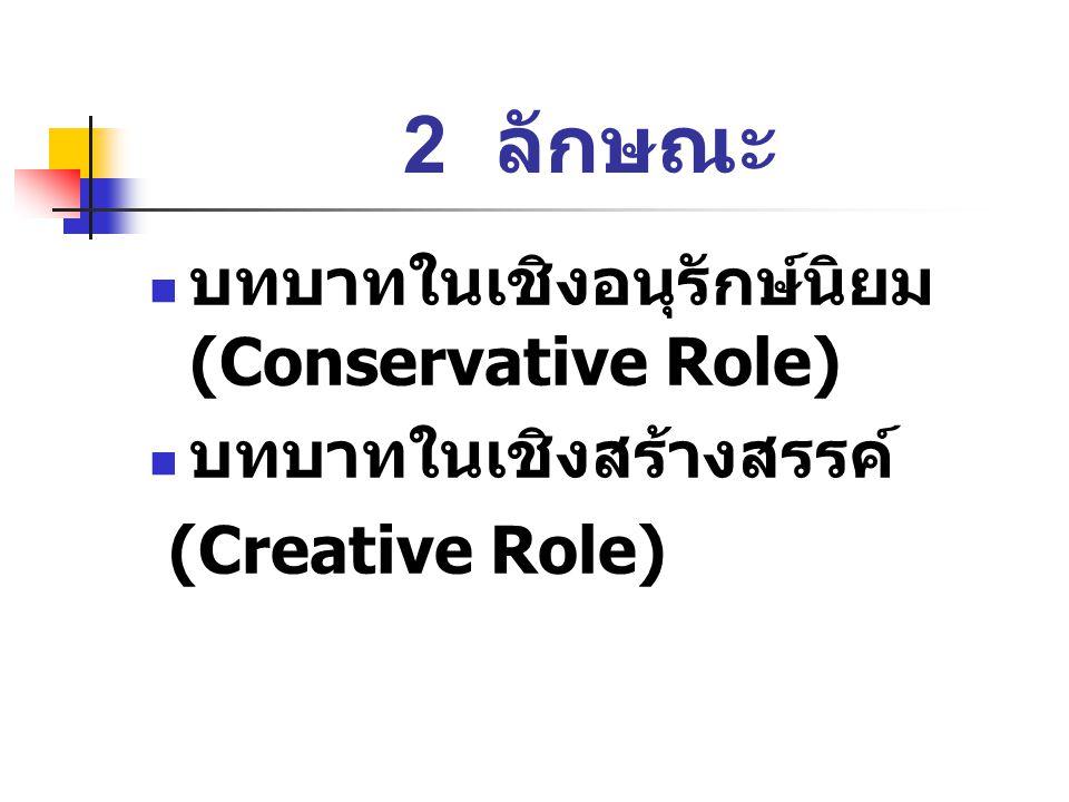2 ลักษณะ บทบาทในเชิงอนุรักษ์นิยม (Conservative Role)