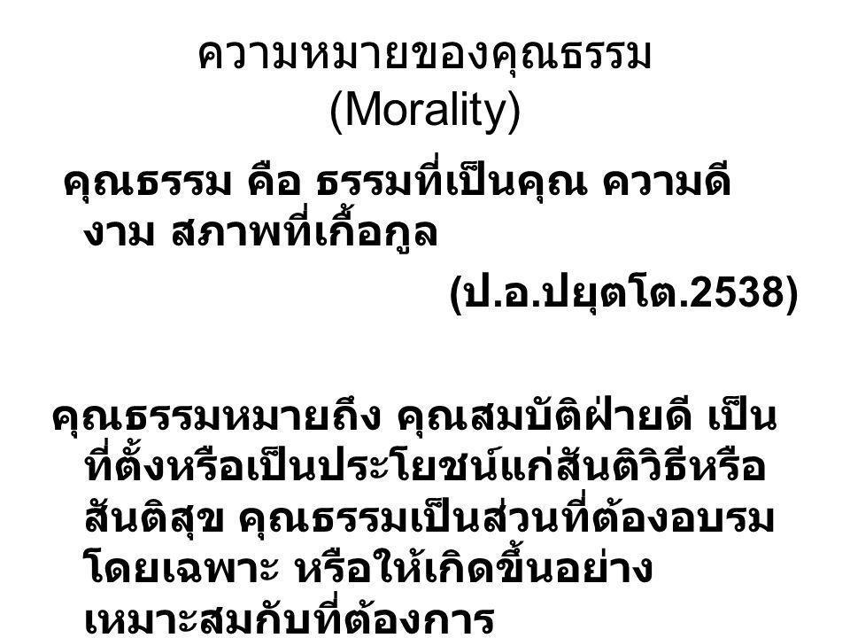 ความหมายของคุณธรรม (Morality)