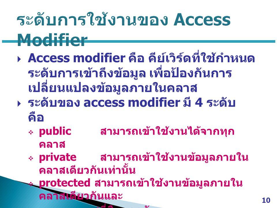 ระดับการใช้งานของ Access Modifier