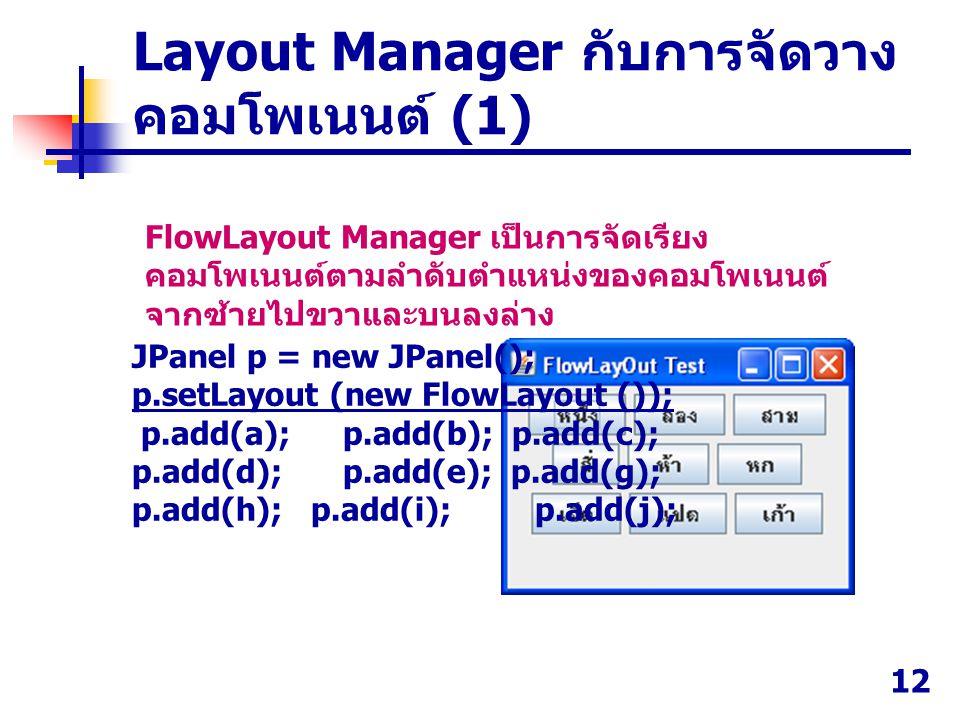Layout Manager กับการจัดวางคอมโพเนนต์ (1)