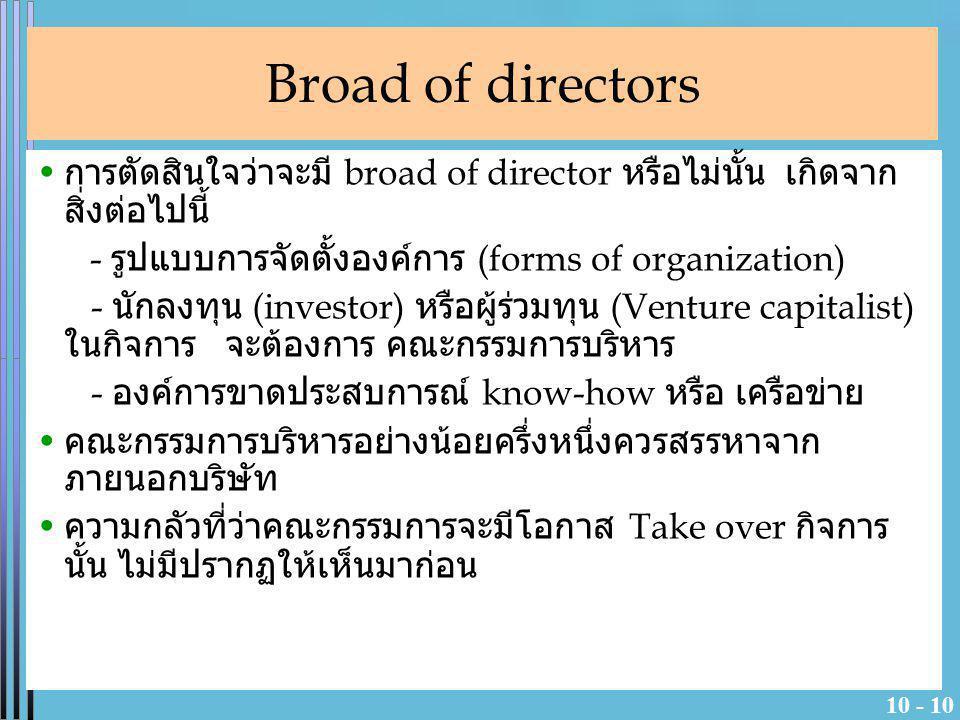 Broad of directors การตัดสินใจว่าจะมี broad of director หรือไม่นั้น เกิดจากสิ่งต่อไปนี้ - รูปแบบการจัดตั้งองค์การ (forms of organization)