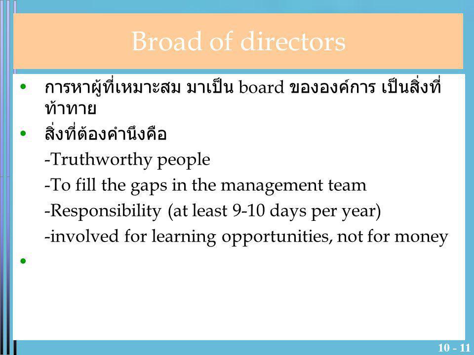 Broad of directors การหาผู้ที่เหมาะสม มาเป็น board ขององค์การ เป็นสิ่งที่ท้าทาย. สิ่งที่ต้องคำนึงคือ.