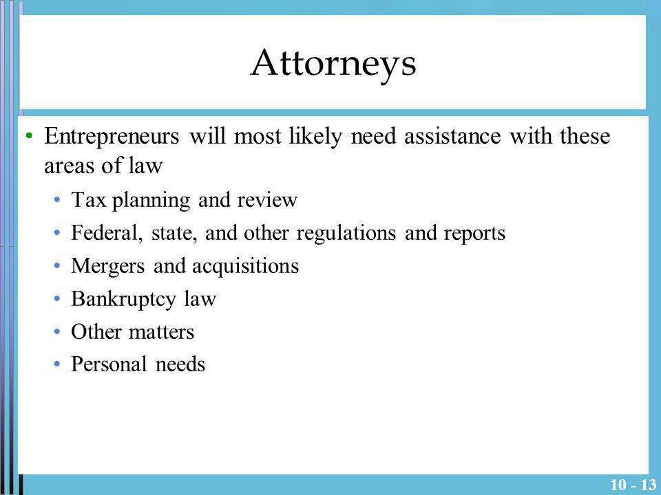 Attorneys Entrepreneurs will most likely need assistance with these areas of law. Tax planning and review.