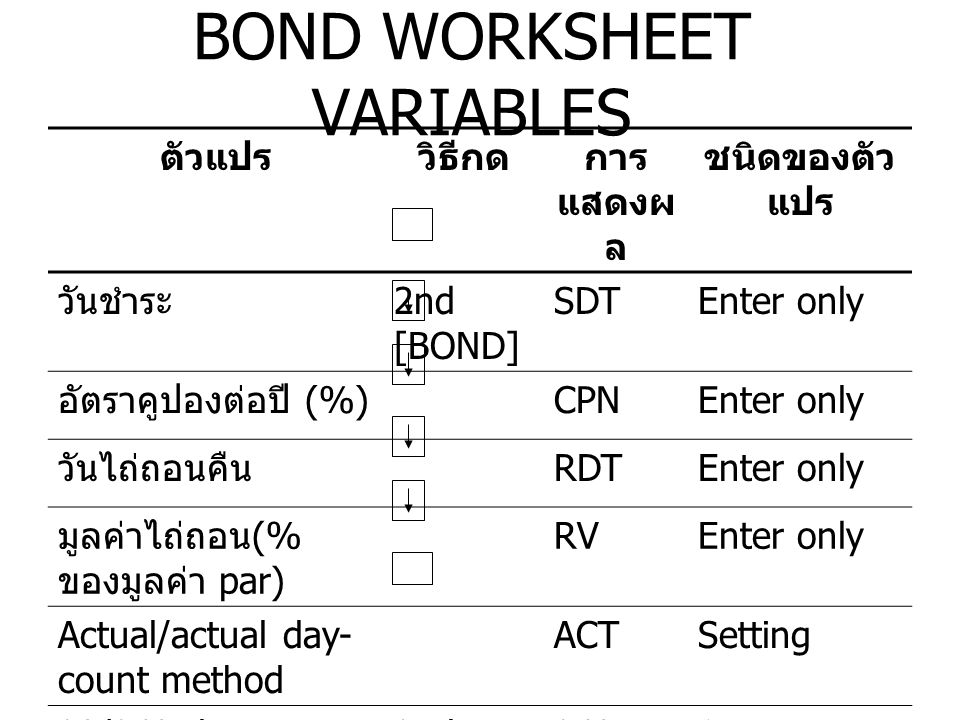 BOND WORKSHEET VARIABLES