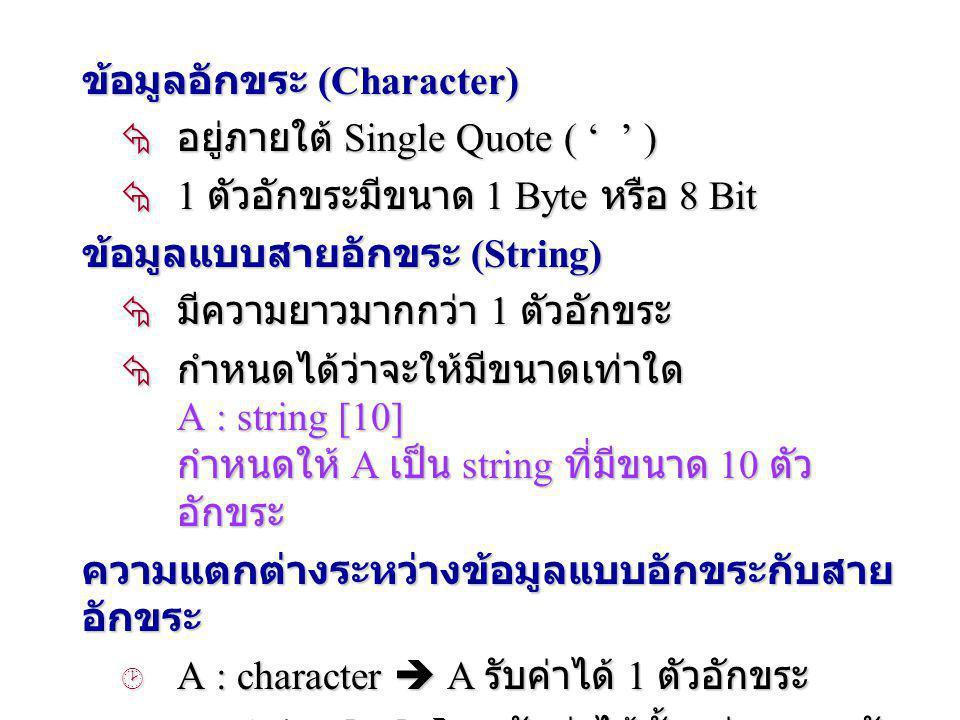 ข้อมูลอักขระ (Character)