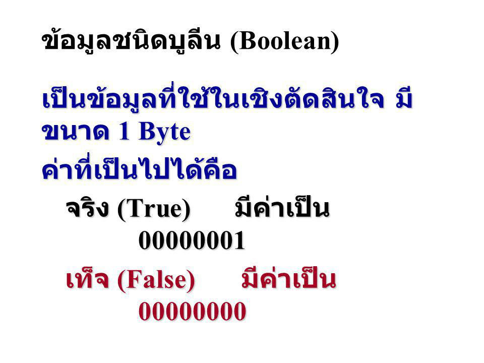ข้อมูลชนิดบูลีน (Boolean)