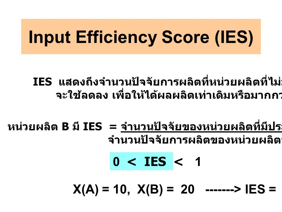 Input Efficiency Score (IES)