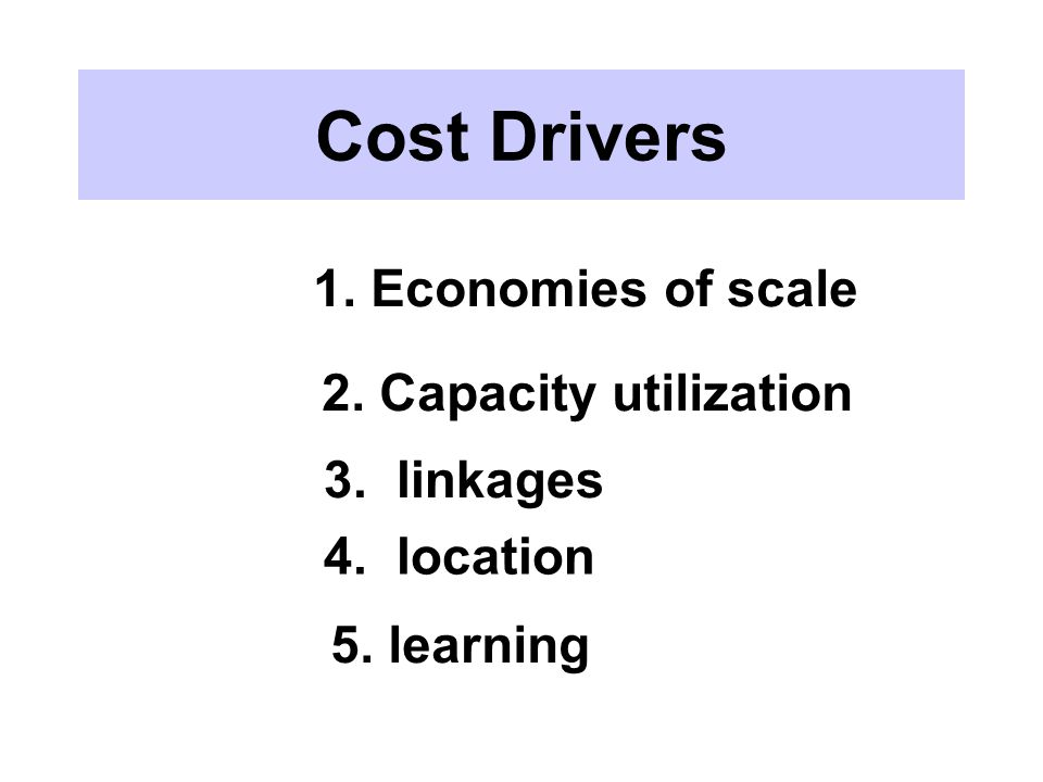 Cost Drivers 1. Economies of scale 2. Capacity utilization 3. linkages