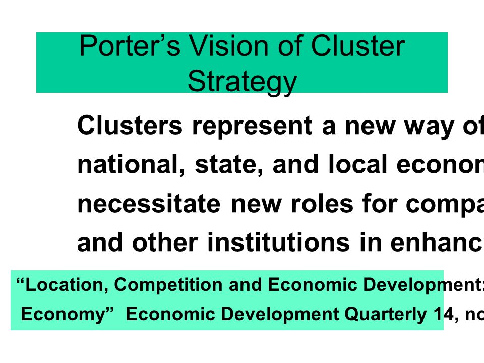 Porter's Vision of Cluster Strategy