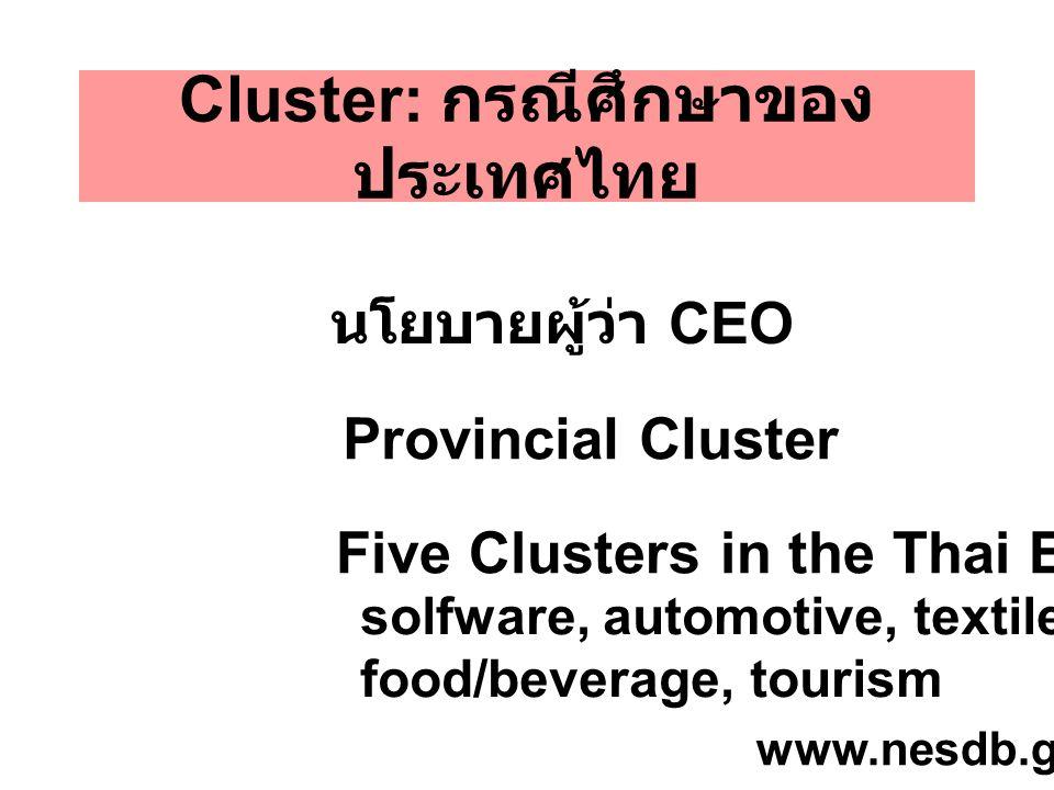 Cluster: กรณีศึกษาของประเทศไทย
