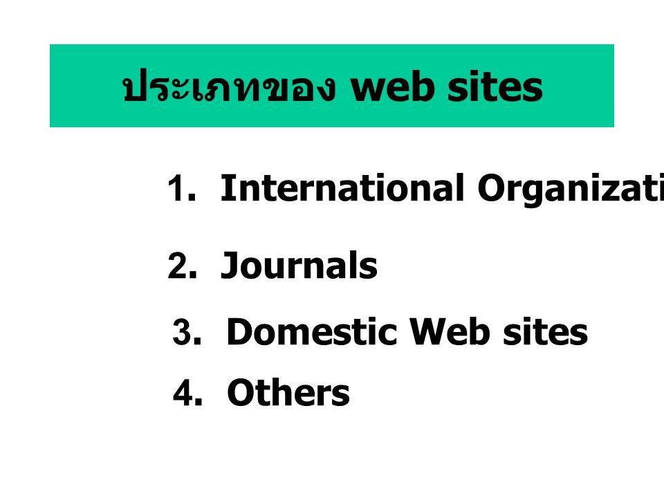 ประเภทของ web sites 1. International Organizations 2. Journals