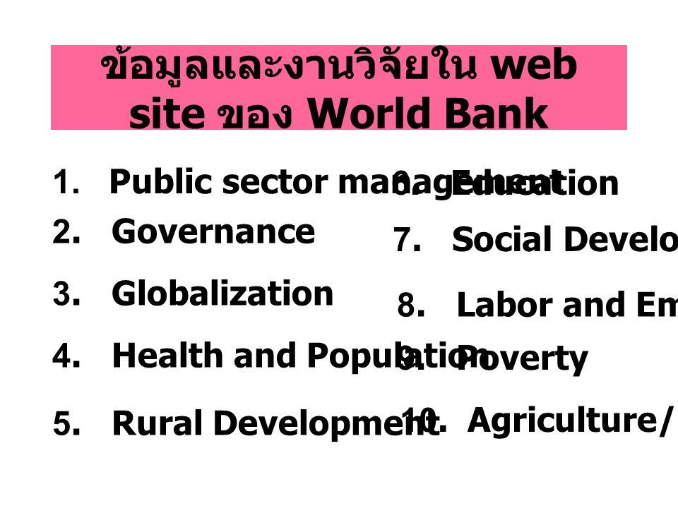 ข้อมูลและงานวิจัยใน web site ของ World Bank