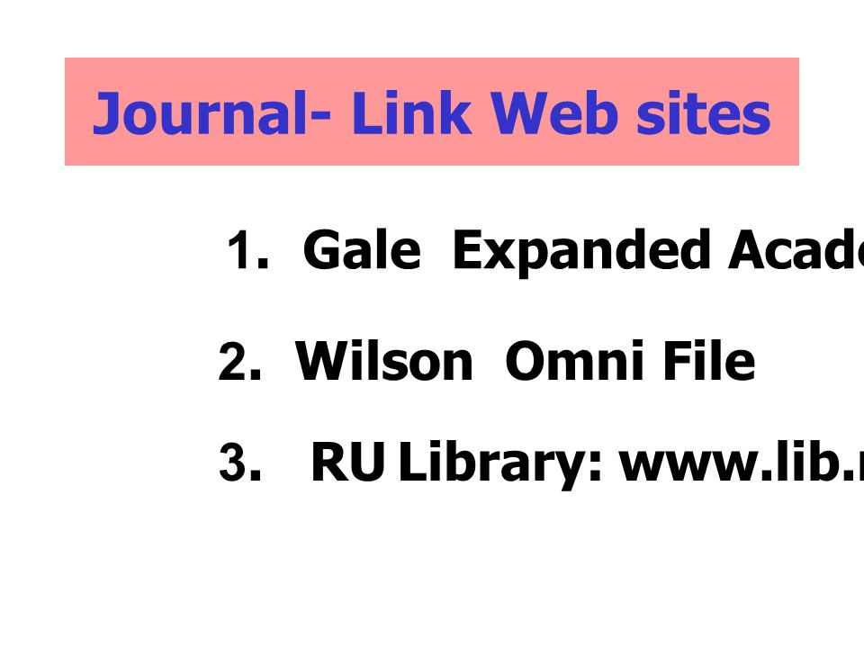 Journal- Link Web sites