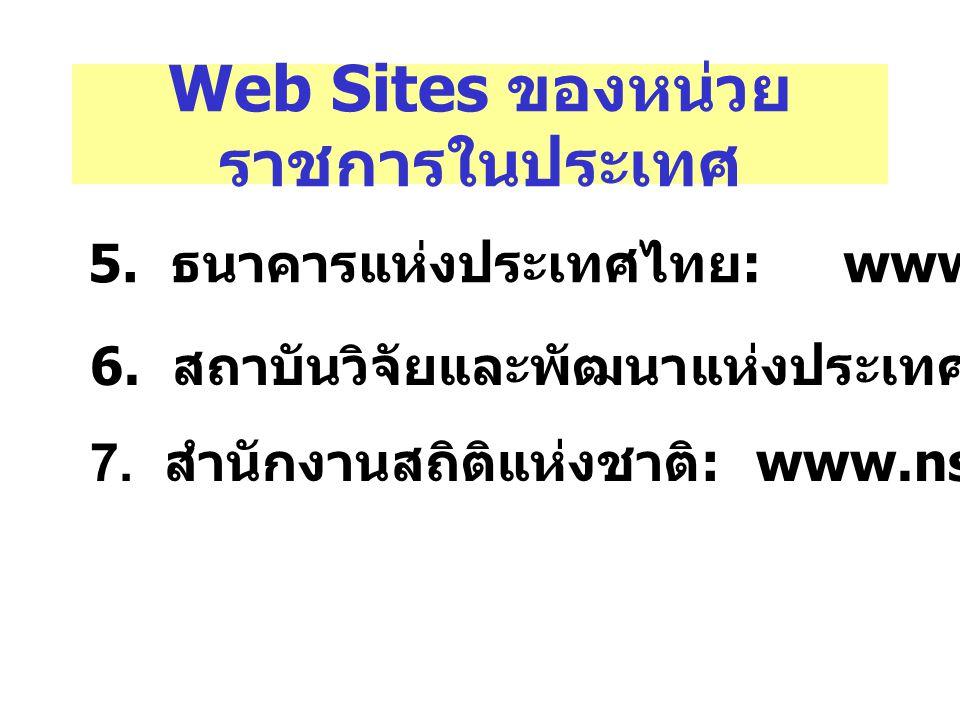 Web Sites ของหน่วยราชการในประเทศ