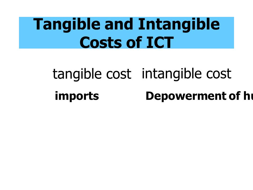 Tangible and Intangible Costs of ICT