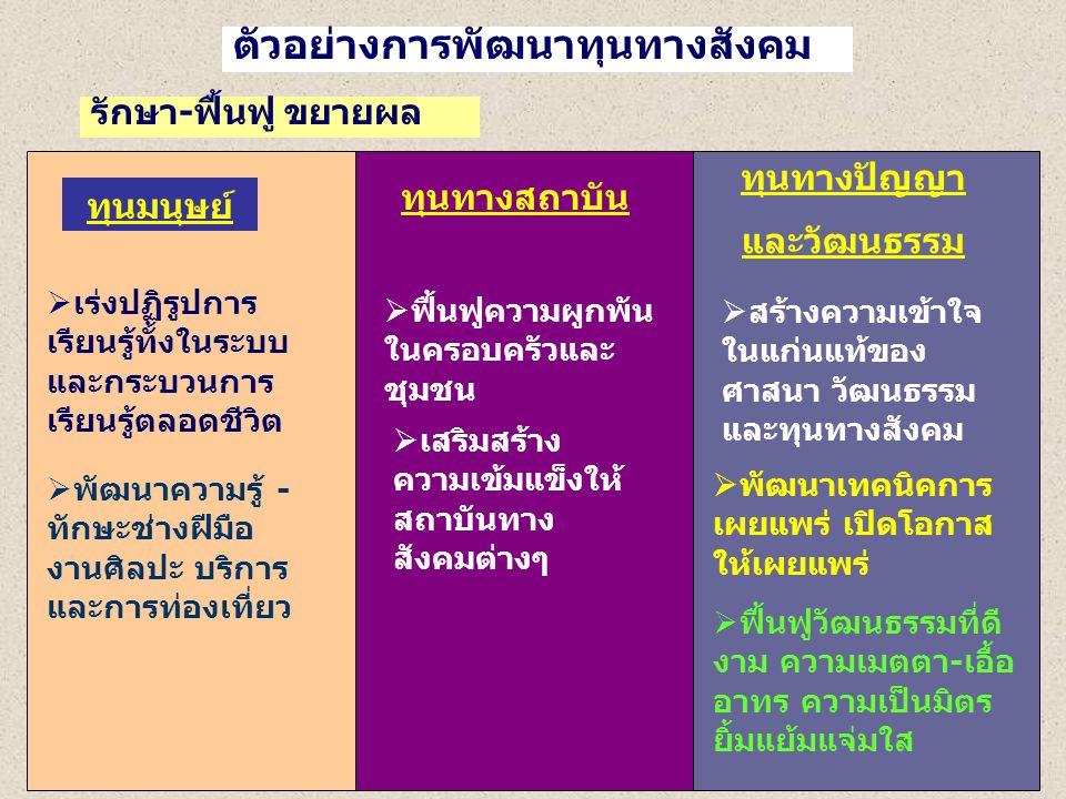 ตัวอย่างการพัฒนาทุนทางสังคม