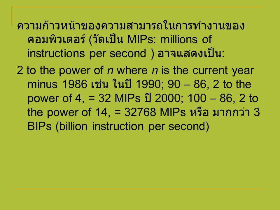 ความก้าวหน้าของความสามารถในการทำงานของคอมพิวเตอร์ (วัดเป็น MIPs: millions of instructions per second ) อาจแสดงเป็น: