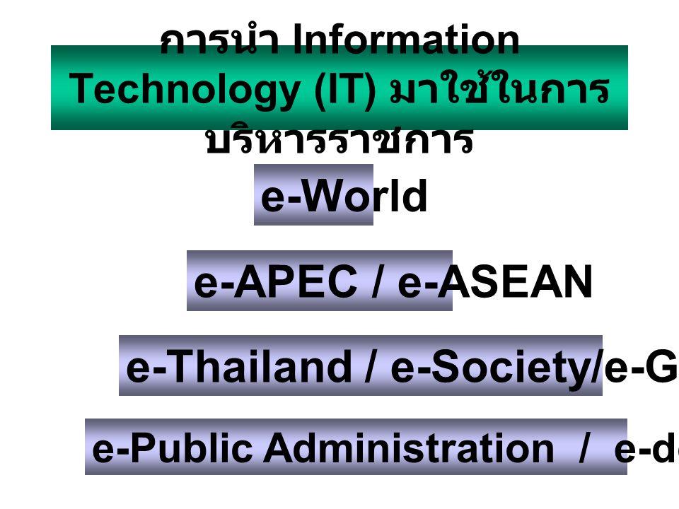 การนำ Information Technology (IT) มาใช้ในการบริหารราชการ