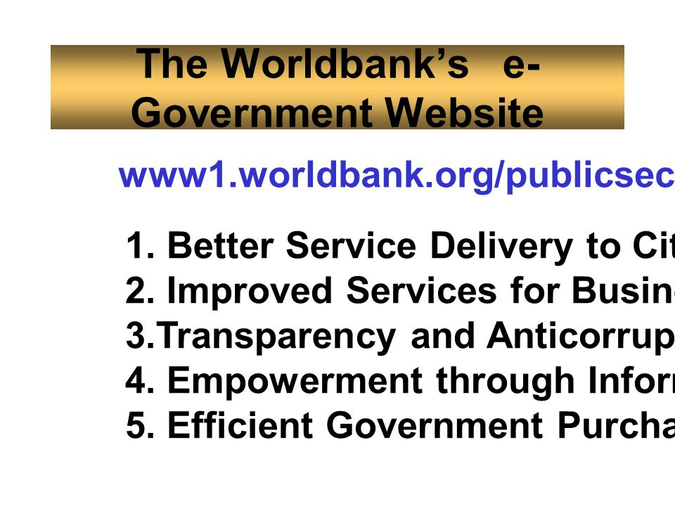 The Worldbank's e-Government Website