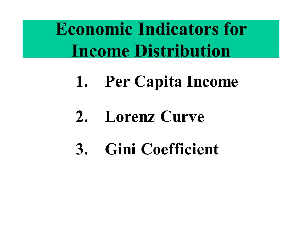 Economic Indicators for Income Distribution