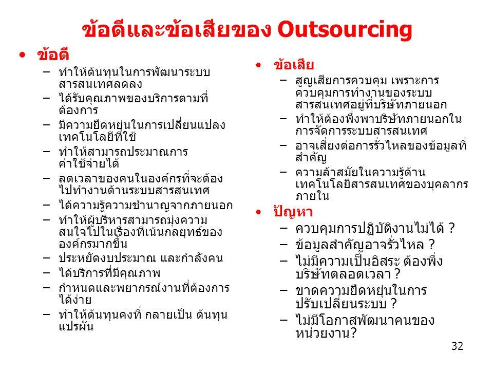 ข้อดีและข้อเสียของ Outsourcing