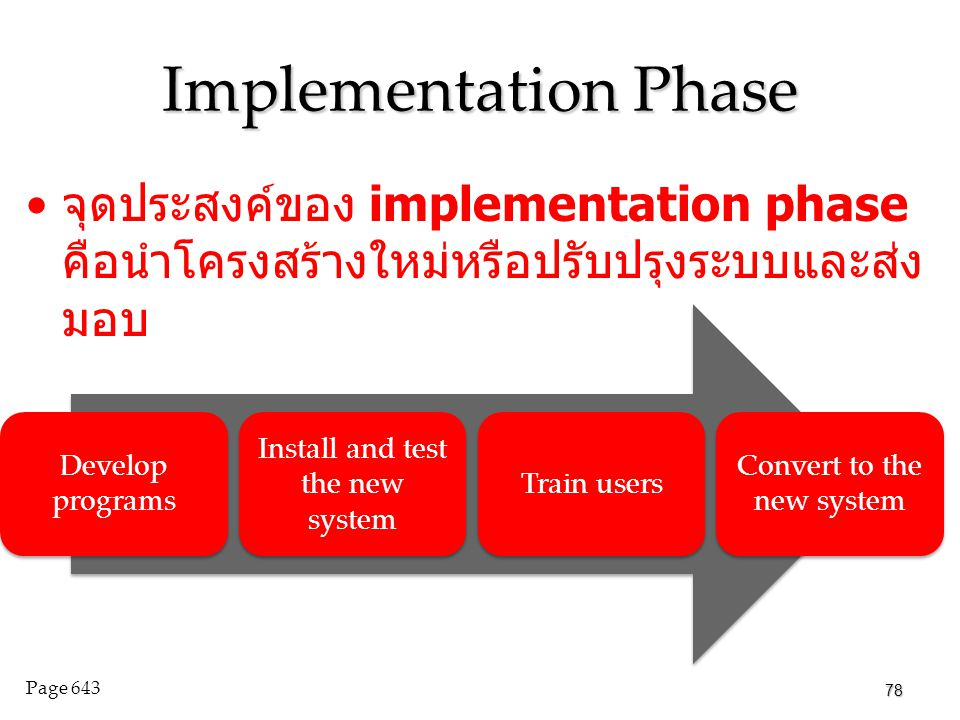 Implementation Phase จุดประสงค์ของ implementation phase คือนำโครงสร้างใหม่หรือปรับปรุงระบบและส่งมอบ.