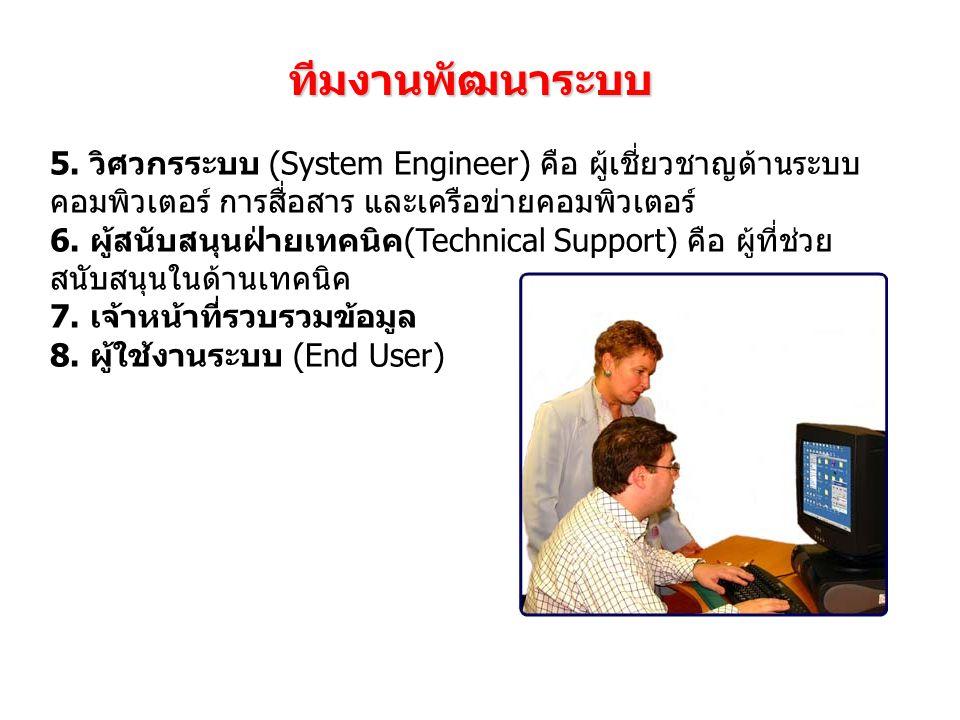 ทีมงานพัฒนาระบบ 5. วิศวกรระบบ (System Engineer) คือ ผู้เชี่ยวชาญด้านระบบคอมพิวเตอร์ การสื่อสาร และเครือข่ายคอมพิวเตอร์