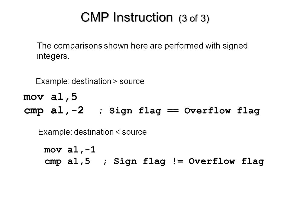 CMP Instruction (3 of 3) mov al,5