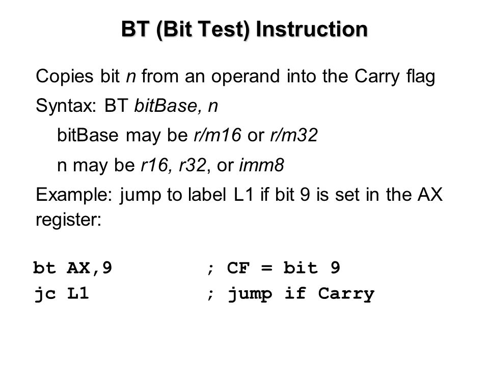 BT (Bit Test) Instruction