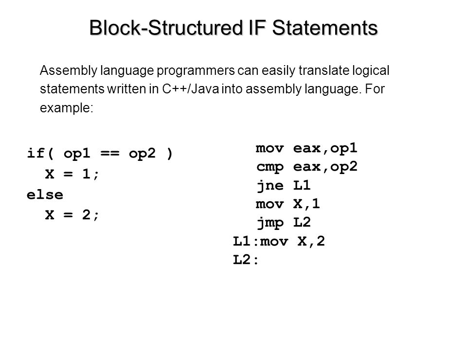 Block-Structured IF Statements