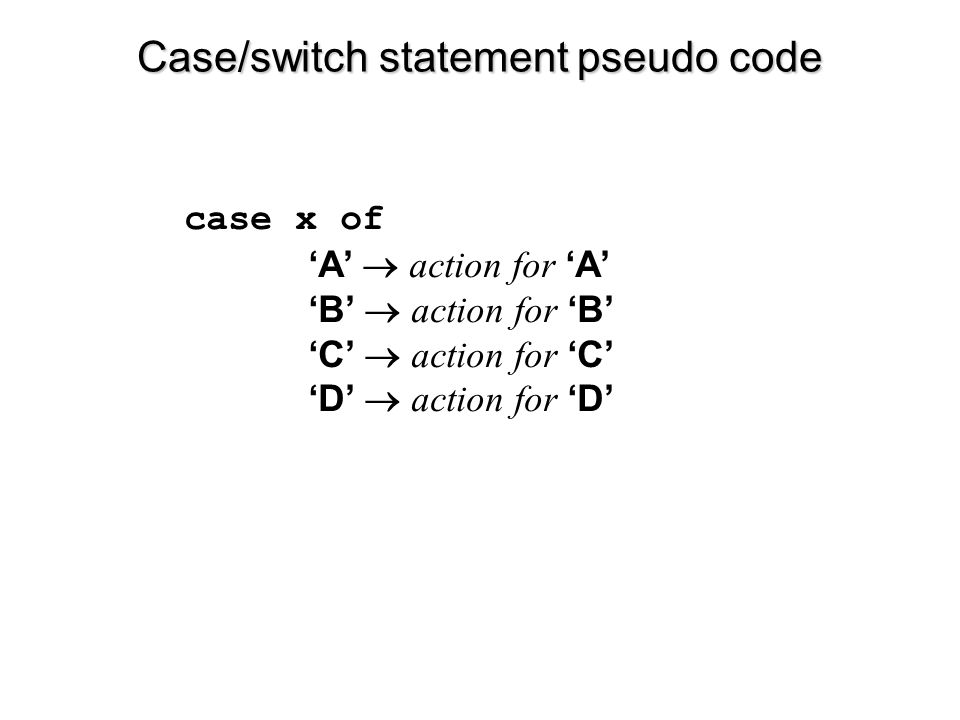 Case/switch statement pseudo code