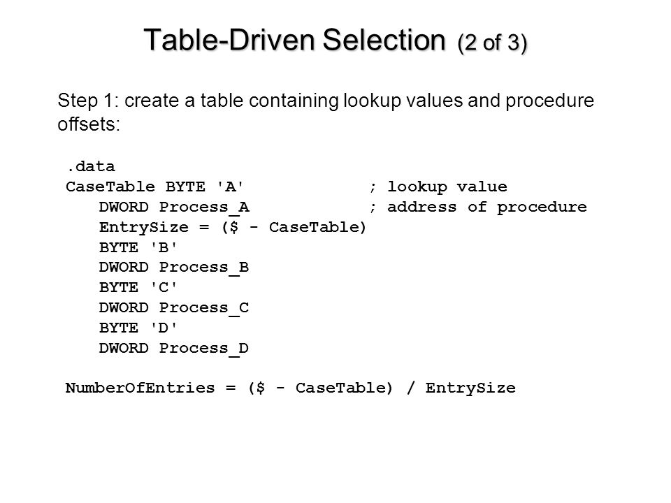 Table-Driven Selection (2 of 3)