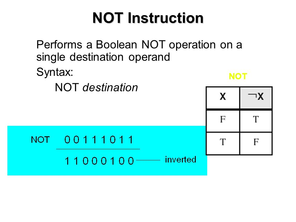 NOT Instruction Performs a Boolean NOT operation on a single destination operand. Syntax: NOT destination.