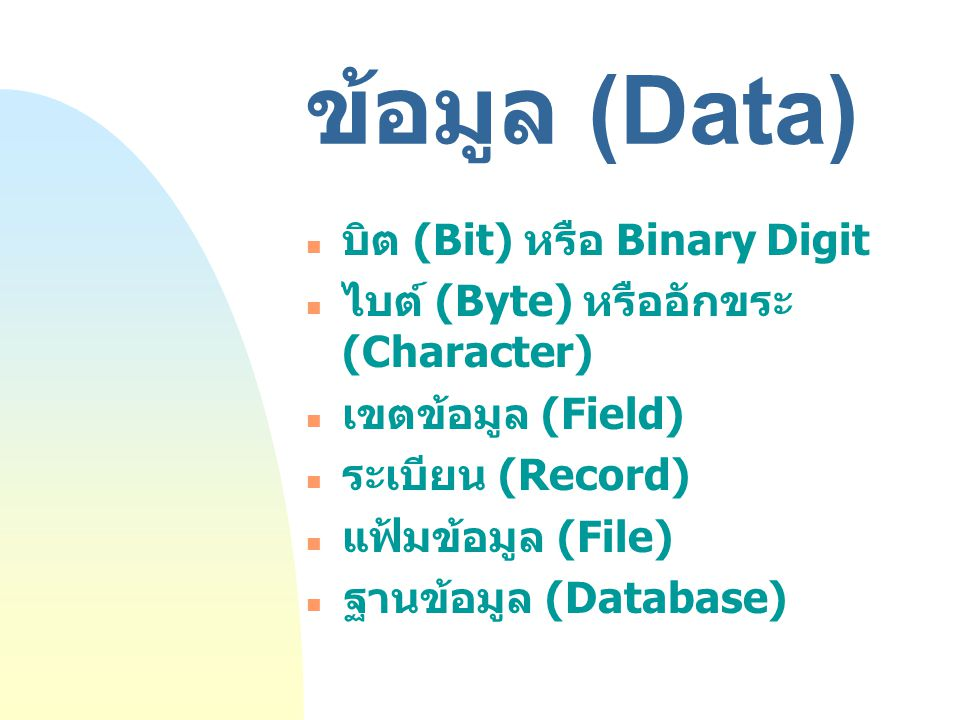 ข้อมูล (Data) บิต (Bit) หรือ Binary Digit