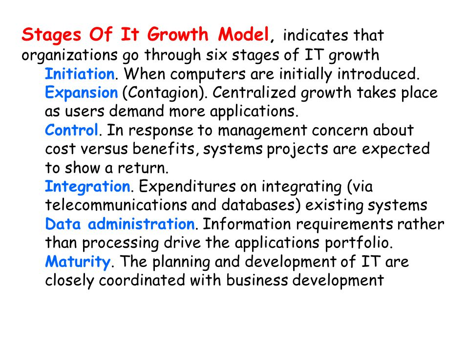 Stages Of It Growth Model, indicates that organizations go through six stages of IT growth