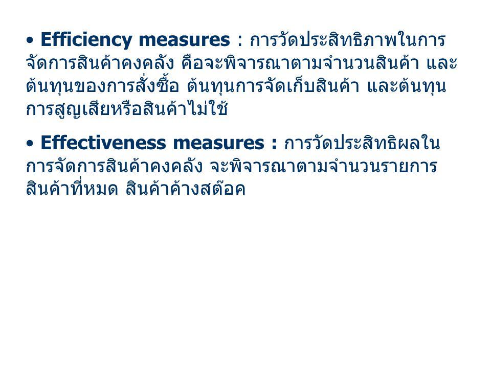 Efficiency measures : การวัดประสิทธิภาพในการจัดการสินค้าคงคลัง คือจะพิจารณาตามจำนวนสินค้า และต้นทุนของการสั่งซื้อ ต้นทุนการจัดเก็บสินค้า และต้นทุนการสูญเสียหรือสินค้าไม่ใช้