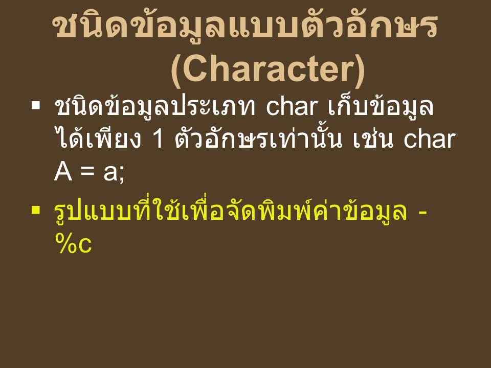 ชนิดข้อมูลแบบตัวอักษร (Character)