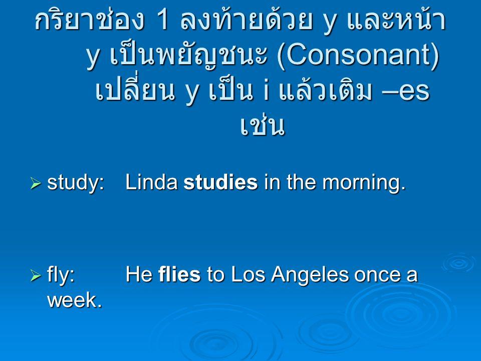 กริยาช่อง 1 ลงท้ายด้วย y และหน้า y เป็นพยัญชนะ (Consonant) เปลี่ยน y เป็น i แล้วเติม –es เช่น