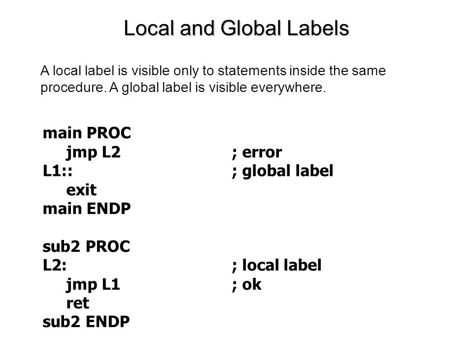 Local and Global Labels