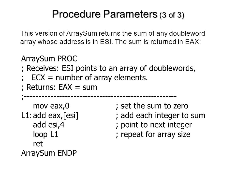 Procedure Parameters (3 of 3)