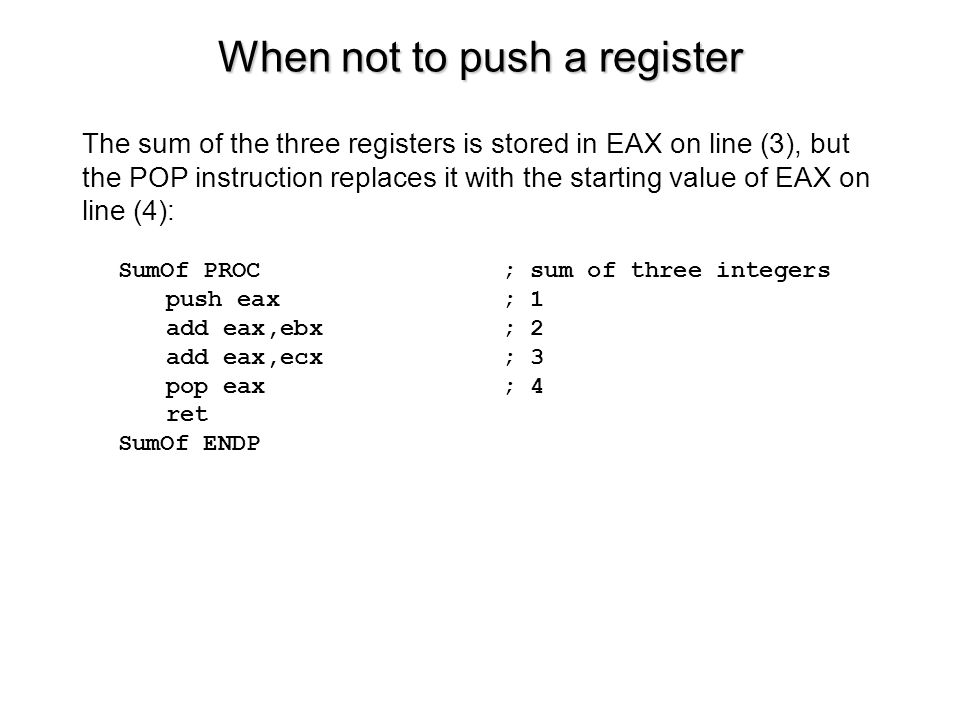 When not to push a register