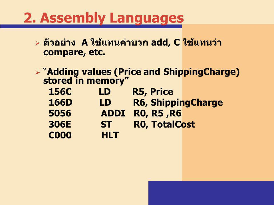 2. Assembly Languages ตัวอย่าง A ใช้แทนค่าบวก add, C ใช้แทนว่า compare, etc. Adding values (Price and ShippingCharge) stored in memory