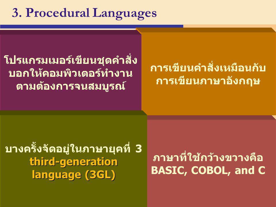 3. Procedural Languages การเขียนคำสั่งเหมือนกับการเขียนภาษาอังกฤษ. โปรแกรมเมอร์เขียนชุดคำสั่งบอกให้คอมพิวเตอร์ทำงานตามต้องการจนสมบูรณ์
