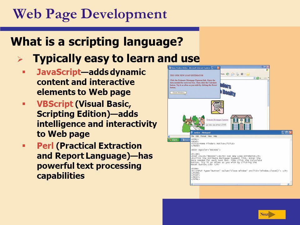 Web Page Development What is a scripting language