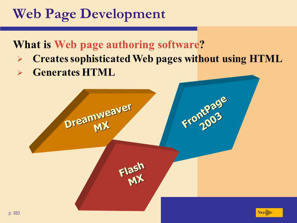 Web Page Development What is Web page authoring software